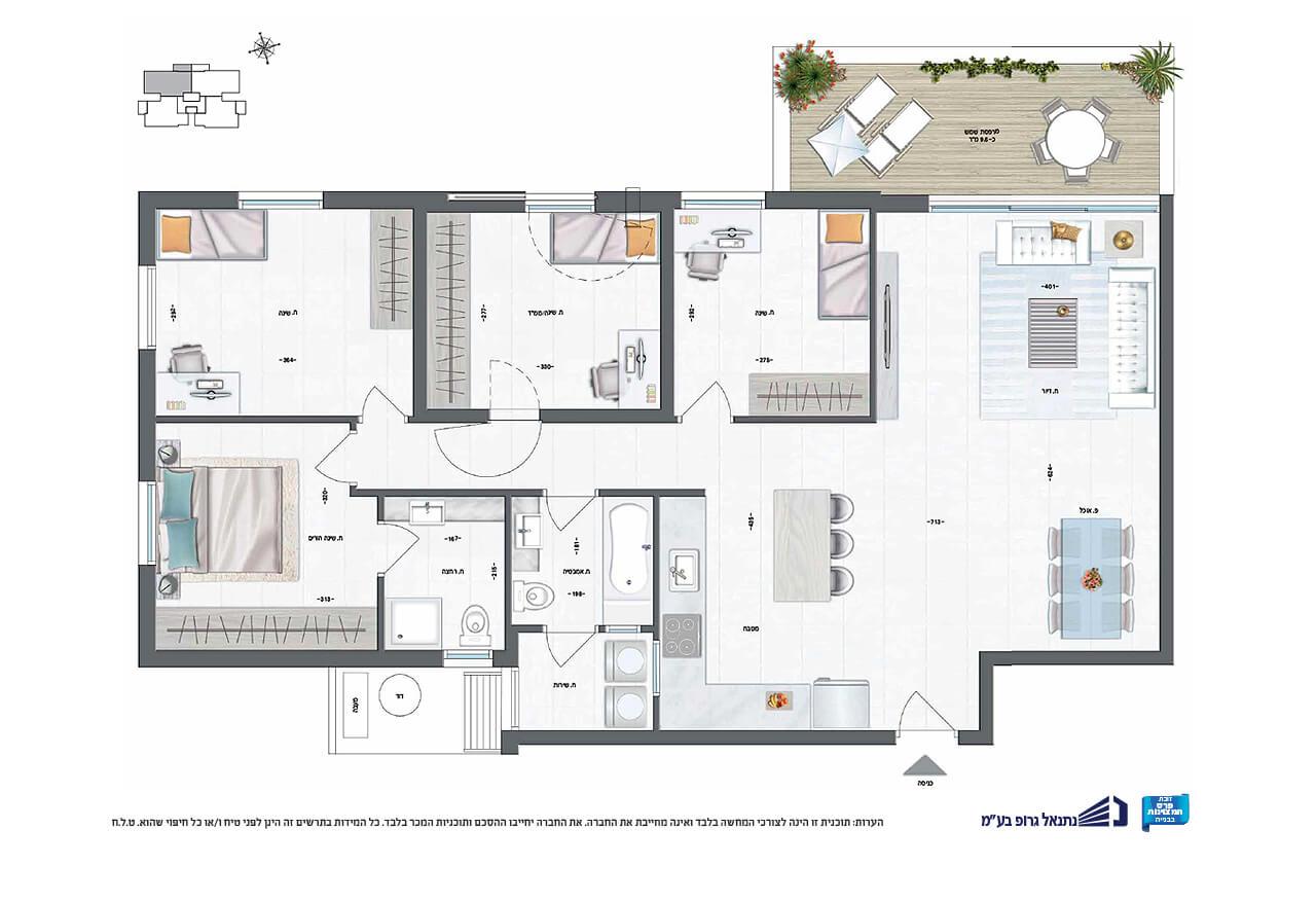 דירת 5 חד' | קומה 1 | צפון - מזרח