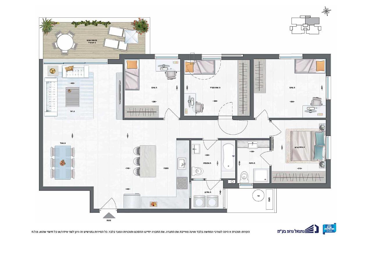 דירת 5 חד' | קומה 1 | דרום - מזרח