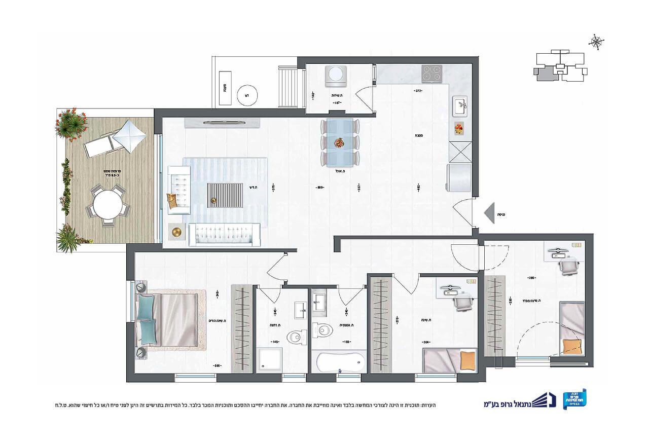 דירת 4 חד' | קומה 1 | צפון - מערב