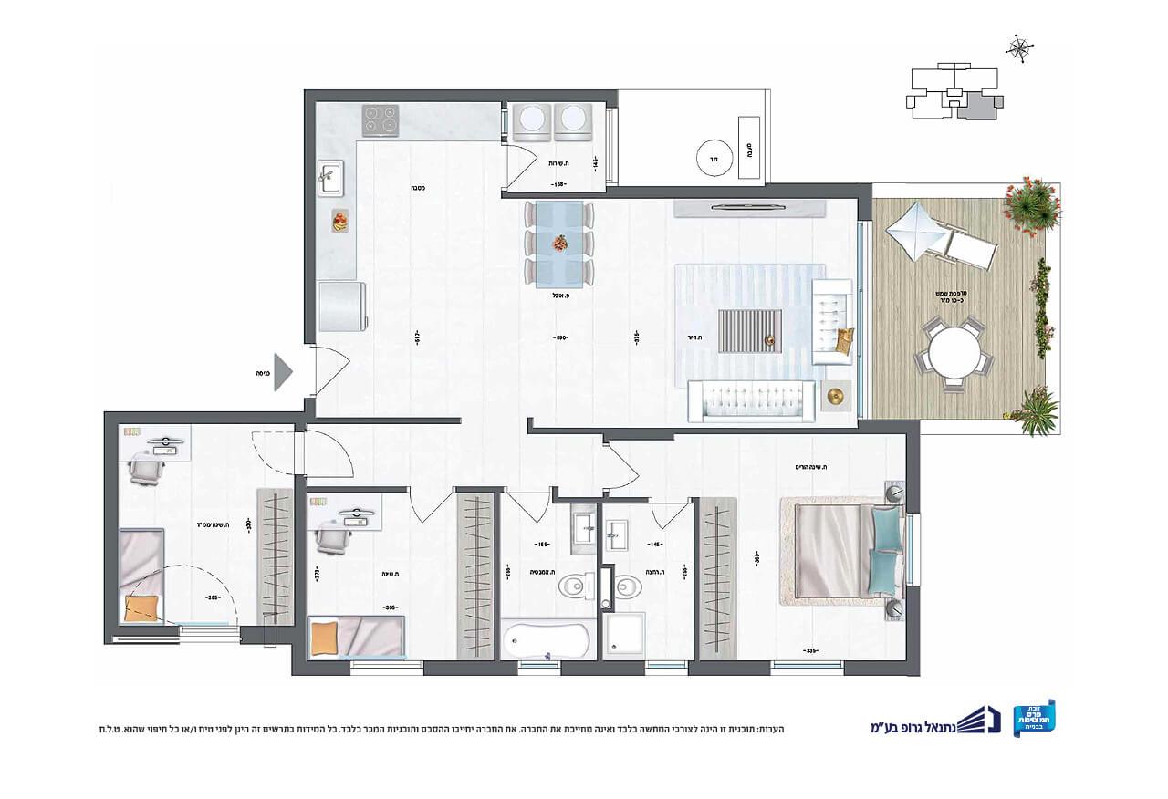דירת 4 חד' | קומה 1 | דרום - מערב